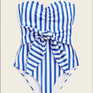 NEW front tie striped one piece swimsuit